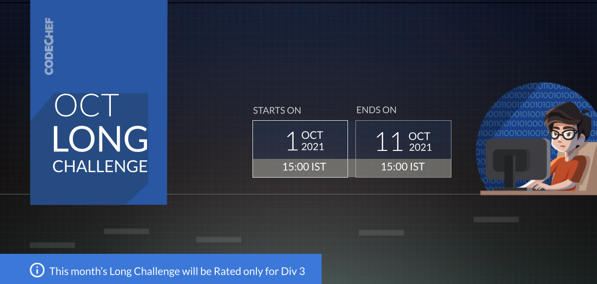 October Challenge 2021 Division 3 (Rated) - CodeChef